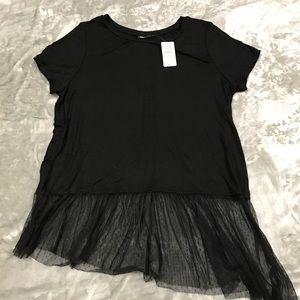 NWT PLUS Asymmetrical Mesh T Shirt